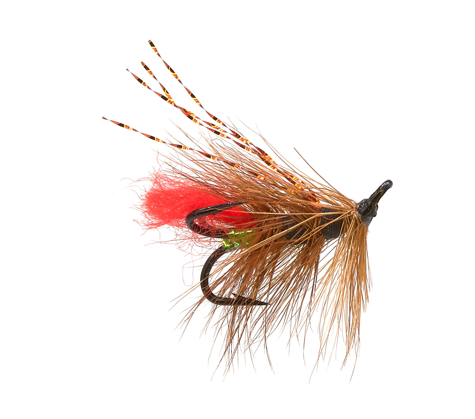 ICE FLIES Treble Hook. Salmon Fly 3-pack Fransis red silver hook